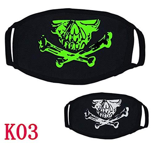 Qiusa Halloween 26 Stile Schwarz Party Leuchtenden Ghost Skull Half Face Scary Horror Maske (Farbe : C)