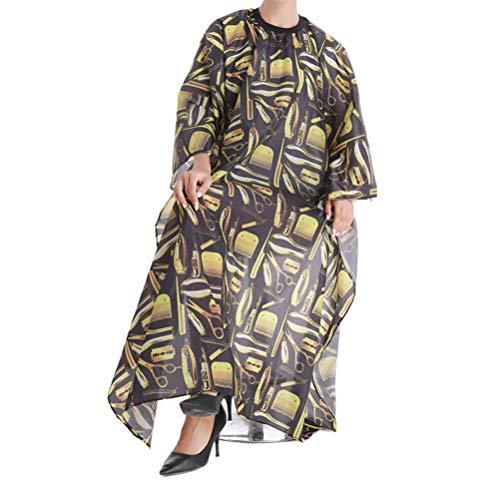 RACAPE Friseurumhang Barber Cape Stylische Haircut Tuch Kleid Anti-Statik-Haar-Styling Perming Färben Schürze - mit Hakenverschluss,Yellowprint -