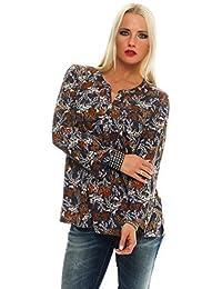 BENTER Damen Bluse Oberteil Shirt Fischerhemd Baumwolle geblümtes Hemd Langarmbluse Casual Regular Fit 61452