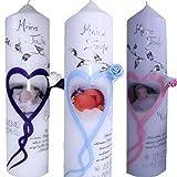 Taufe Taufkerze Kommunionkerze Mädchen Herz Rose Junge mit Foto Taufspruch Namen Datum 250x60 Alle Farben möglich ITP120
