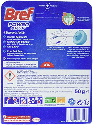 Bref WC Power Activ Océan 50 g - Blocs Nettoyants WC - Lot de 5
