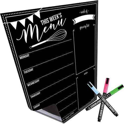 Magnetic Dry Erase Weekly Menu Board for Fridge: with Stain Resistant Technology - 4 Fine Tip Markers and Large Eraser with Magnets- Menu Whiteboard Wall Organizer: Refrigerator White Board