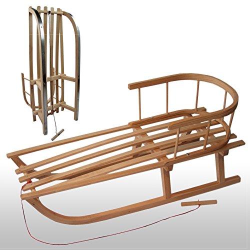 Bambiniwelt, slittino in legno con schienale e corda da traino, slittino per bambini in legno di faggio