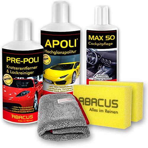 ABACUS AUTOPOLITUR SET-03 (7407) APOLI Hochglanzpolitur PRE-Poli Kratzerentferner & Lackreiniger MAX 50 Cockpitpflege + Zubehör