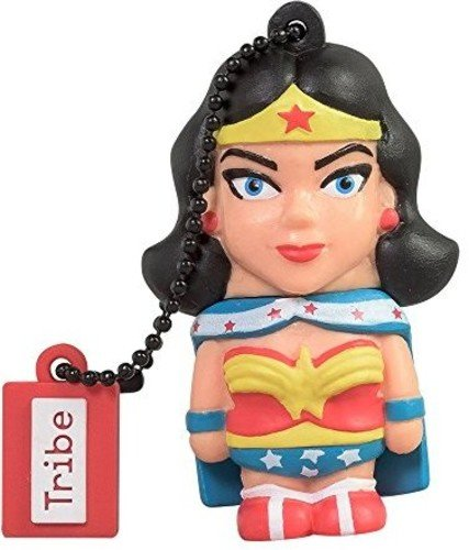 Chiavetta usb 16 gb wonder woman - memoria flash drive originale dc comics, idea regalo e gadget portachiavi da collezione tribe - colore