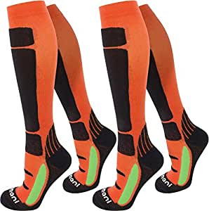2 Paar Gesundheits - Stützkniestrümpfe mit Baumwolle für Damen und Herren Farbe Orange/Schwarz Größe 35/38