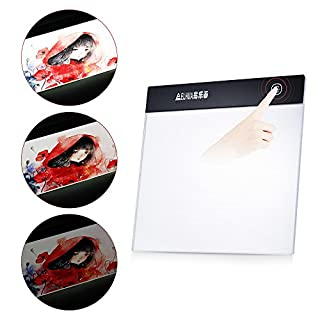 Aibecy Portable A5 LED Light Box Drawing Tracing Tracer Copy Board Table Pad Panel Copyboard Diamond Painting Tool with Stepless Brightness Control USB Cable for Artist Animation Sketching