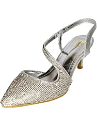 ea6a35dfdb9a1 Glitz LONDON Ladies Diamante Pointed Low Heel Shoe Slingback Sandal Pointy  Evening Party Size 3-
