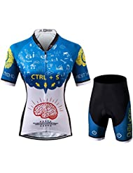 Thriller Rider Sports® Mujer Rest Your Mind Deportes y Aire Libre Maillot Manga Corta de Ciclismo y Pantalones Cortos Traje X-Large