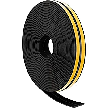 ForgetMe Window Draft Excluder Tape D Type Self-Adhesive EPDM Door Window Draught Excluder Strip Foam Seal Soundproofing Avoidance Rubber Weatherstrip 9mm X 6mm X 2.5 Meters