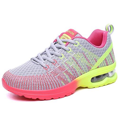 WIEIS Sneakers da Donna Scarpe da Corsa Maglie Ultra Leggere E Traspiranti Atletica Leggera Scarpe da Ginnastica da Passeggio Scarpe Sportive Traspiranti,Rosa,36