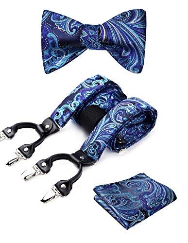 Hisdern Blumenpaisley 6 Clips Hosentr?ger & Bowtie und Einstecktuch Set Y-Form Verstellbare Zahnspange Lila/Blau Muster-clip