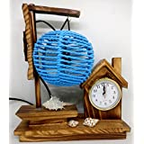 Ethnic Karigari Artefacts Beautiful Modern Art Boat Handicrafts Showpieces For Home Decor Beautiful Wooden Lamps Ship Style With Clock | Home Decor Items And Accessories For Living Room