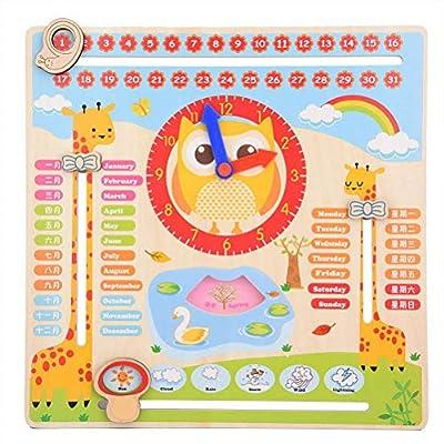 AimdonR Reloj de Madera con Calendario de Juguete, Reloj Educativo de Madera, Calendario de Juguetes, Calendario de enseñanza, Calendario, Fecha, Temporada, Clima, Juguete cognitivo para niños por AimdonR