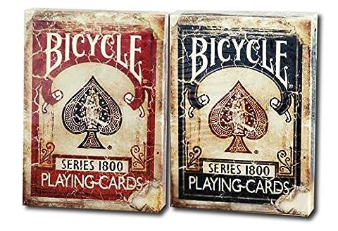 Cartes à jouer Bicycle 1800 Vintage Series 2 Deck Set Deck Ellusionist 1 rouge 1 bleu Bicycle 1800 Vintage Series Playing Cards 2 Deck Set by Ellusionist 1 Red 1 Blue deck