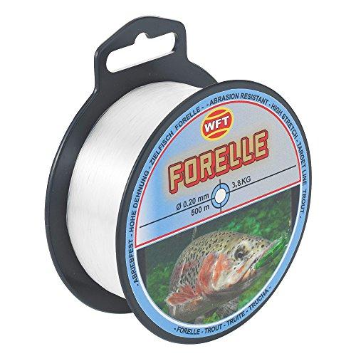WFT Zielfisch Forelle 500m clear - Angelschnur zum Forellenangeln, Monofilschnur für Forellen, Forellenschnur zum Angeln, Schnur, Durchmesser/Tragkraft:0.20mm/3.8kg Tragkraft