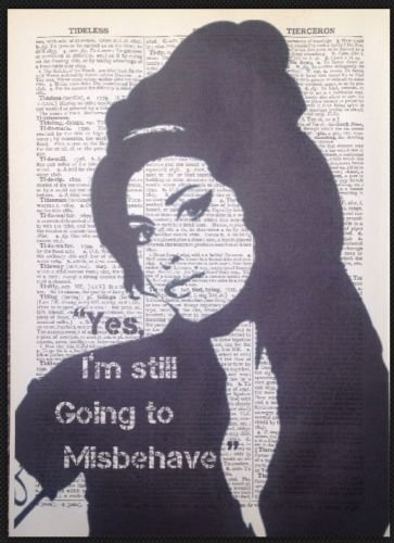 Parksmoonprints Amy Winehouse Quote Vintage Dictionary Print Picture Wall Art Diva Music Gift