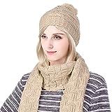 Vbiger Ensemble bonnet et écharpe en tricot d'hiver pour hommes et femmes