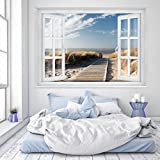 murimage Papier Peint Mer Fenêtre 183 x 127 cm Colle Inclus Photo Mural Dune Plage 3D Beach Maritime Chambre Enfants Wallpaper