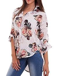 918ef406a0 Toocool - Camicia donna maglia velata fiori mimetica coda asimmetrica sexy  nuova AS-7656