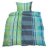 Home Dreams Sommer- Bettwäsche Microfaser Streifen Karo blau grün türkis 140x200cm & 70x90cm mit Reißverschluss (Österreich-Maß)