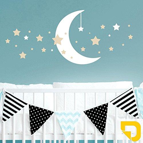 DESIGNSCAPE® Wandtattoo Mond mit Sternen | Wandtattoo Kinderzimmer Babyzimmer 120 x 51 cm (Breite x Höhe) Farbe 1: gelb DW809110-M-F32