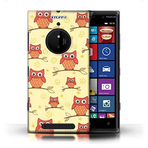 Kobalt® Imprimé Etui / Coque pour Nokia Lumia 830 / Rose/blanc conception / Série Motif Hibou Rouge/Jaune