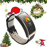 ZEERKEER Smart Watch Aktivitäts-Tracker mit Pulsmesser, IP67 Wasserdichtes Smart-Armband mit Kalorienzähler, Blutdruckmessgerät, Schrittzähler für Damen und Herren (Braun)