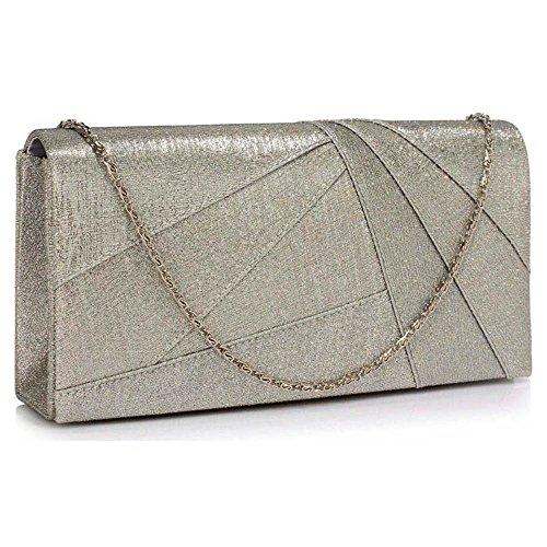 Damen Geldbörsen Designer Satin Geldbörse Klappe Zu Ende Kreuz Körper Tasche Magnetisch Schließung Mit Lange Kette A - Silber Clutch Tasche