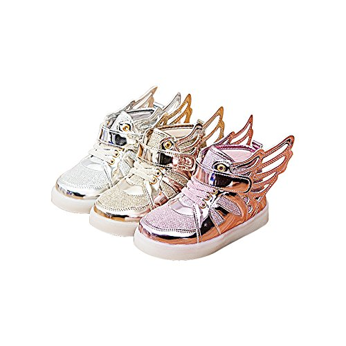 QIMAOO Chaussure de sport cool chaussure de trail de courses à pied Montant compensé Running shoe Sneaker pour enfannt Mixtes Argenté