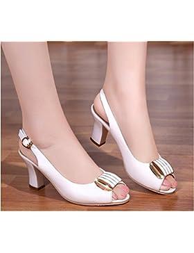 SDKIR-Sandali estivi, femmina pelle ruvida con pesce scarpe a punta, con femmina scarpe casual ,40, bianco