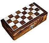 Royal Kurta Chess Game 8' Lacquer Coated Wooden Magnetic Handcrafted Folding Chess Box with Foam Fitting for Chessmen.