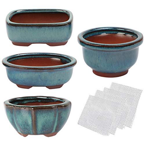 kilofly Happy Bonsai Mini Glasierte Töpfe, 4 Stück, mit 4 Abflusssiegen aus weichem Netzgewebe