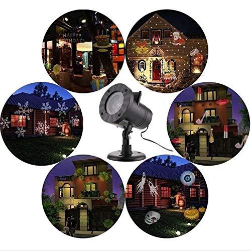 u LED Projektionslampe Weihnachtsbeleuchtung IP44 Wasserdichte Weihnachtsdekoration Mit 12 Austauschbaren Mustern für Partys Weinachten ()