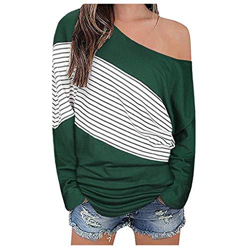 Tohole Damen Langarm T-Shirt Bluse Slim Fit Longsve Relaxed Fit Streifenshirt Langarmshirt Shirt Streifenshirt Mit Streifen Und Rundhalsausschnitt Blusen (Grün,XL)