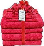 Buymax - Handtuch-Set aus 100% Baumwolle 12-teilig 2 Duschtücher 2 Handtücher 2 Gästetücher 4 Waschhandschuhe 2 Seittücher 480 g/qm, Rot