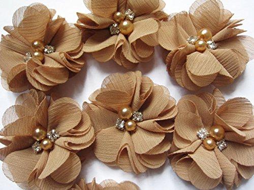 20 Chiffon-Blumen, die 5,1 cm groß sind, mit Strass und Perlen, für Bastelarbeiten von Yycraft, Chiffon, pale gold, 2
