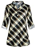 MRULIC Damen Plaid Shirt Reihe Falten Knopf Geraffte Ansatz Kurzarm UnregelmäßIge T-Shirt Tops Tunikakleid Bluse Button-Down Blusenshirt(Gelb,EU-40/CN-XL)