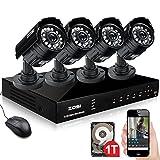 ZOSI CCTV Outdoor HD 720P Videoüberwachung Set 8CH 720P DVR Rekorder mit 4 x 720P Außen Tag Nacht Überwachungskamera System, 1TB Festplatte, 20M Nachtsicht
