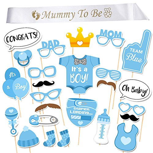 InnoBase Babydusche Baby Junge Deko partydekoration Set Mummy to Be Satin Schärpe Babyparty Baby Shower Masken Foto Booth Props Fotorequisiten Neugeborene (Boy)