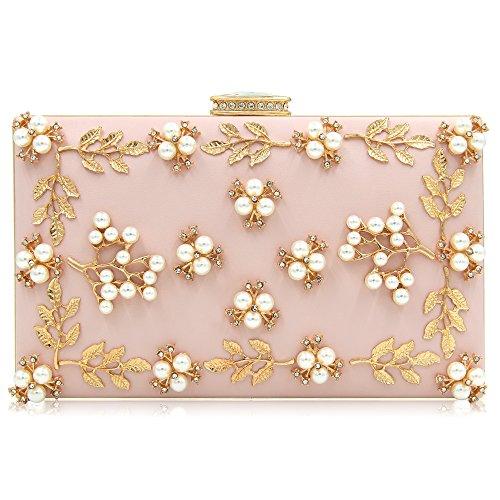 Milisente Frauen Perle Wulst Blumen Clutch Tasche Damen Abendtaschen Hochzeit Handtasche (Rosa) (Tasche Perlen Handtasche)