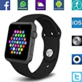 Smart Watches Beste Deals - Banaus® BS19 Newest MTK2502 Smart Watch with Bluetooth 4.0 Support SIM Watch Phone for Android Samsung Galaxy S3/S4/S5/Note2/Note3/Note4 HTC Sony LG Xiaomi Huawei ZUK and iPhone 5/5C/5S/6/6S Black