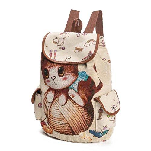 Borse a Spalla ,Kword Donna Zaino Carino Gatto Stampa Canvas Coulisse Zaino Shopping Bag Borsa Da Viaggio B