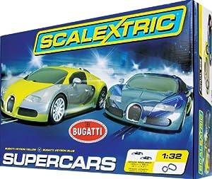 SuperSlot - Bugatti Super Cars, circuito de iniciación slot (Hornby C1297)