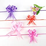 #10: Goyal 50 Pcs Pull Flower Bow Ribbon for Gift Wrap & Decoration - Assorted Colors - 15 cm