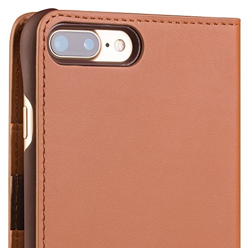 qialino iPhone 7 Fall, Top echt Leder Schutz Cover mit kartenfächer und Bargeld Poket Phone Cover, echte Leder Case für iPhone 7, iPhone 7 Fall Folio Fall 5.5 inch Light brown