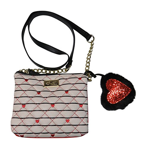 Heart Crossbody Black/White/Red Striped ()