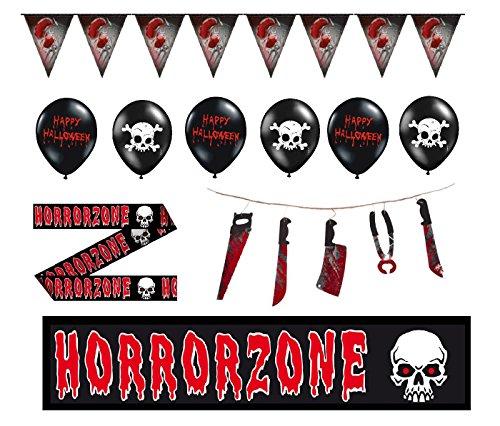 Feste Feiern Halloween Dekoration | 9 Teile Deko Set Luftballons Wimpel Girlande Absperrband | Happy Horror Grusel Party