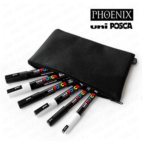 uni-posca-noir-et-blanc-en-cuir-phoenix-avec-look-etui-a-crayons-pc-1mr-pc-3-m-et-pc-5-m