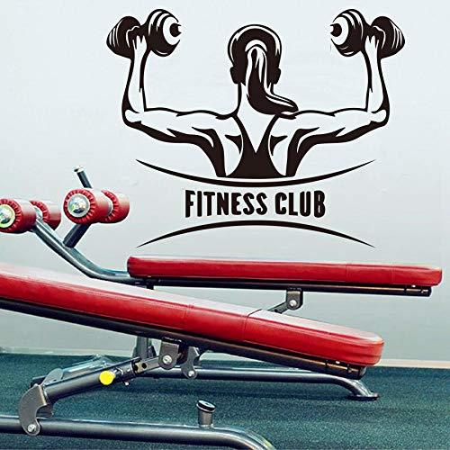 zxddzl Kreative Gym Fitness Club Wandaufkleber für Turnhalle Dekoration Fitness Übung Sport Wandtattoo Decor mädchen BAR wandbilder tapete x73x58 cm -